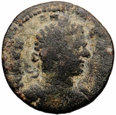 Bronzemünze: Büste des Kaisers Caracalla / Tempel des Apollon Smintheus