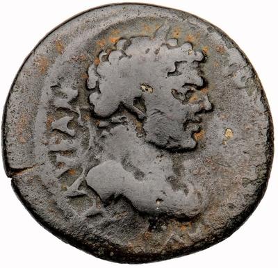 Bronzemünze: Büste des Kaisers Caracalla / Pferd auf Standlinie