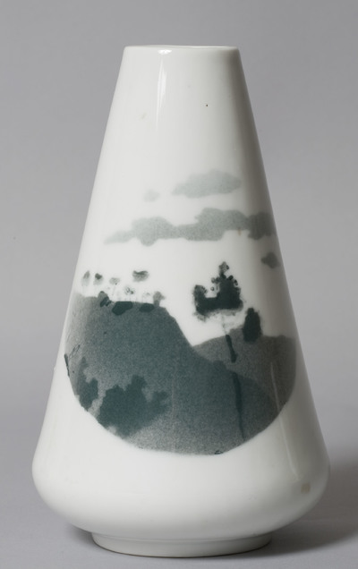 Vase decorated with a green landscape