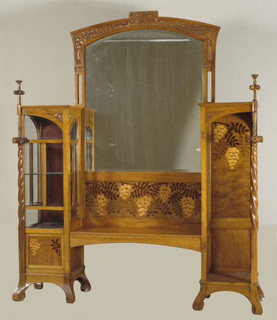 Two-section display cabinet with mirror