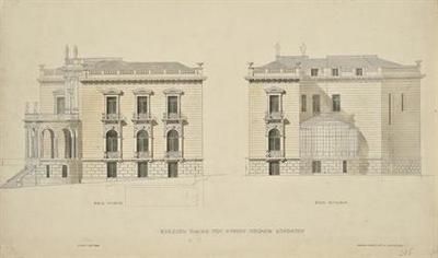 Μέγαρο Όθωνος Σταθάτου. Πλάγια και πίσω όψη επί της οδού Ηροδότου με το θερμοκήπιο (σέρα)