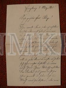 DOKUMENTS ; Vācijas karaflotes smagā kreisera S.M.S.Herta matroža P.Villes vēstule ar aploksni.
