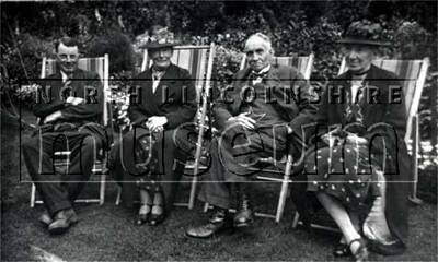 Mr an Mrs Lowish of Barnetby on the right, with their friends, Mr and Mrs G. Marris