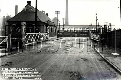 Station Road, Scunthorpe, showing the level crossing and new goods depot, 7 July 1929