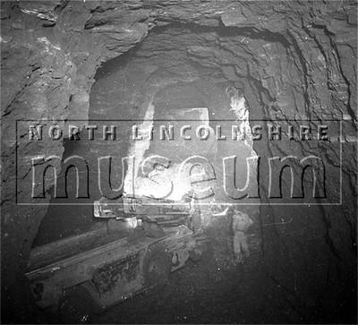 Santon Mining Company record photograph, a back-ripped room in Winn's Ironstone Mine, 10 October 1950