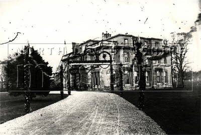 Normanby Hall taken from the south west, decorated for the birth of Sir Berkley Sheffield in 1876.