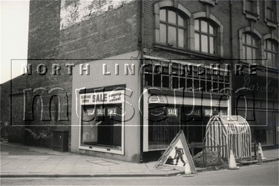 Greenwood's gentlemen's outfitter's shop, 39, Scunthorpe High Street, during demolition to make way for the new shopping precinct, c.1970