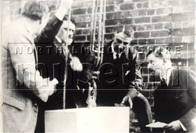 The Earl of Yarborough laying the foundation stone for St. Barnabas' Church in Barnetby in July 1926, with the builder, John Manders