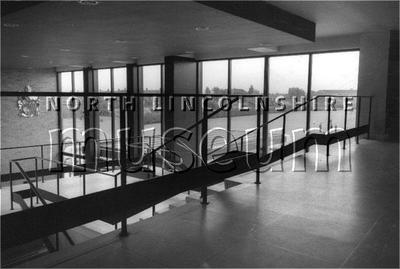 Staircase in the foyer of Scunthorpe Civic Centre, c.1960's. It was renamed Pittwood House in 1996