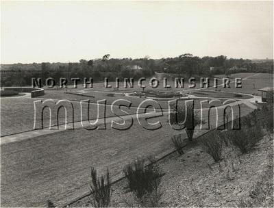 The newly completed Kingsway Gardens, Doncaster Road, Scunthorpe, looking south west at the Lilly pond, c.1955-60