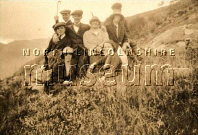 Domestic staff from Normanby Hall, with some local Scottish estate workers at Meable Forest on Loch Morar on the west coast of Scotland in the mid 1920's