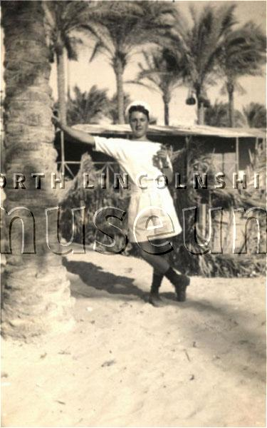 Able Seaman Wilfred Dinsdaleof Scunthorpe in Egypt in 1941, when he was serving in the Royal Navy during the Second World War