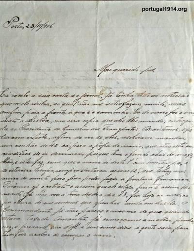 """Carta escrita ao seu pai Abel, a bordo do vapor """"Gaia"""""""