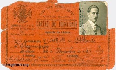Alberto d´Assumpção e o seu cartão da Liga dos Combatentes da Grande Guerra