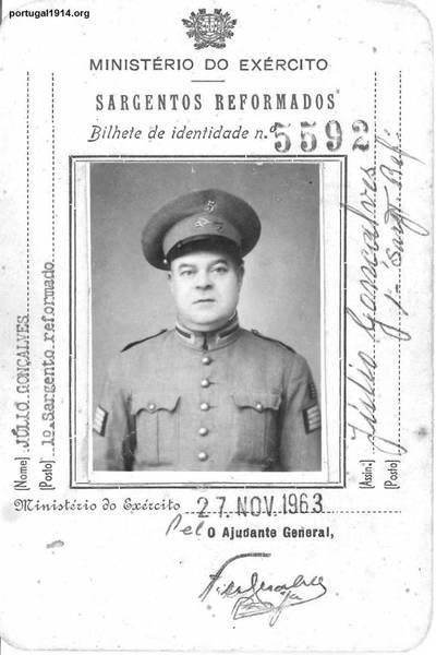 O 1º Sargento Reformado Júlio Gonçalves