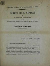 Compte rendu général des travaux du consistoire et de la situation des établissement de son ressort Années 1858, 1859 et 1860. péride quinquennale de 1861 à 1865. période 1866 à 1871