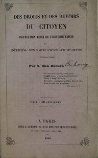 Des droits et des devoirs du citoyen : Instruction tirée de l'Ecriture Sainte ou entretiens d'un maître d'école avec ses élèves (25 février 1848)