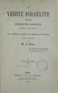 La Vérité israélite : recueil d'instruction religieuse. Vol. 3 Table des matières (1861)