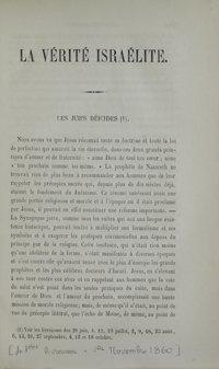 La Vérité israélite : recueil d'instruction religieuse. Vol. 3 n° 41 (1er novembre 1860)