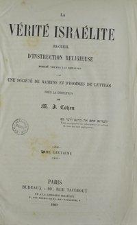 La Vérité israélite : recueil d'instruction religieuse. Vol. 2 Table des matières (1860)