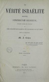 La Vérité israélite : recueil d'instruction religieuse. Vol. 5 Table des matières (1861)