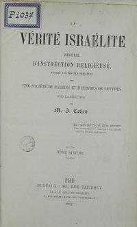La Vérité israélite : recueil d'instruction religieuse. Vol. 6 Table des matières (1862)