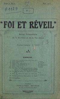 Foi et réveil : revue trimestrielle de la doctrine et de la vie juives. Vol. 1 n° 1 (mai 1913)