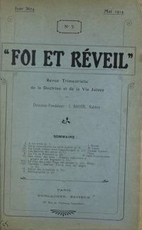 Foi et réveil : revue trimestrielle de la doctrine et de la vie juives. Vol. 2 n° 5 (mai 1914)