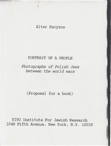 Portrait of a people : From the old world. book proposal