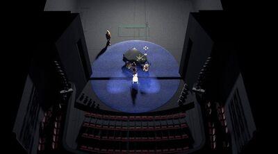 Avtorski projekt, Učene ženske po motivih Molièrovih Učenih žensk, Slovensko ljudsko gledališče Celje in Mestno gledališče Ptuj, 2015/2016. Scenska skica 1