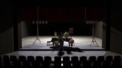 Avtorski projekt, Učene ženske po motivih Molièrovih Učenih žensk, Slovensko ljudsko gledališče Celje in Mestno gledališče Ptuj, 2015/2016. Scenska skica 4