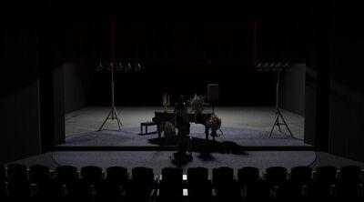 Avtorski projekt, Učene ženske po motivih Molièrovih Učenih žensk, Slovensko ljudsko gledališče Celje in Mestno gledališče Ptuj, 2015/2016. Scenska skica 5