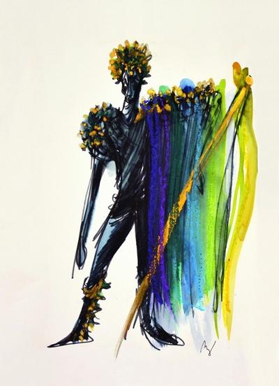 Marij Kogoj: Black Masks, unrealised production. Sketch 7