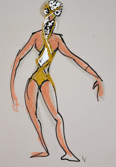 Marij Kogoj: Black Masks, unrealised production. Sketch 8