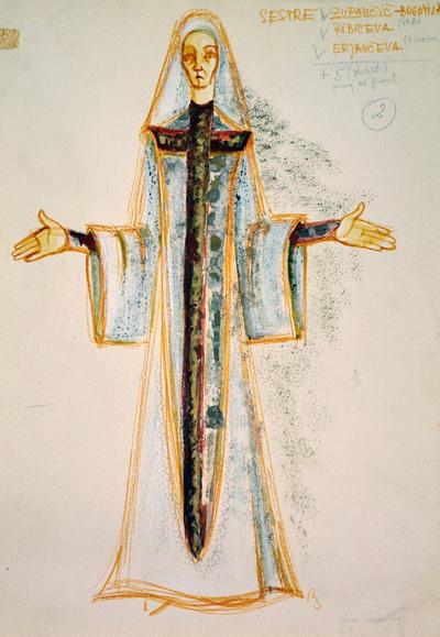 Dominik Smole: The Baptism at the Savica. Sketch 13
