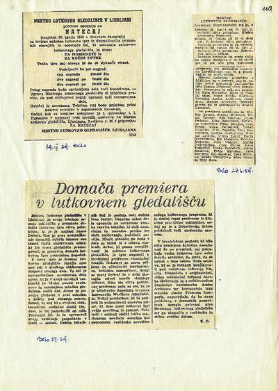 Dva potepina 1959, časopisni izrezki: Domača premiera v Lutkovnem gledališču, Natečaj, Mestno lutkovno gledališče