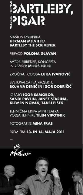 Herman Melville, Bartleby, pisar, Mini teater Ljubljana, 2010/11: letak