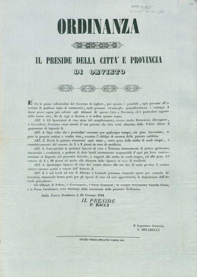 Ordinanza / Il preside della città e provincia di Orvieto