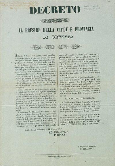 Decreto / Il preside della città e provincia di Orvieto