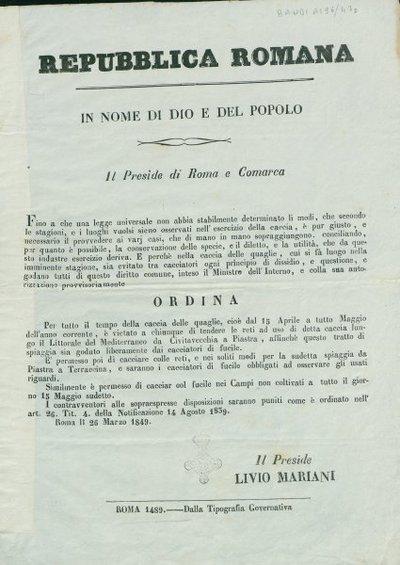 Repubblica romana. In nome di Dio e del popolo. Il preside di Roma e Comarca