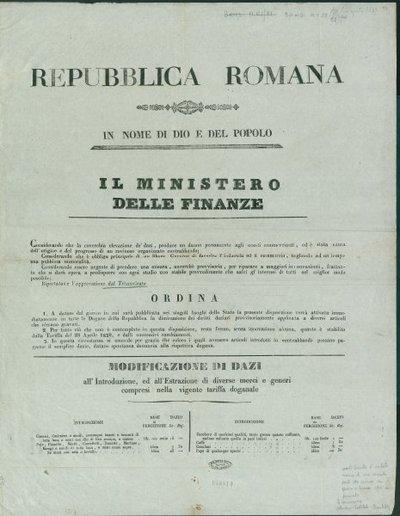Repubblica romana. In nome di Dio e del popolo