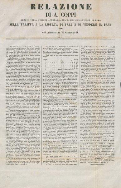 Relazione di A. Coppi membro della sezione annonaria del consiglio comunale di Roma sulla tariffa e la libertà di fare e di vendere il pane letta nell'adunanza dei 16 giugno 1848