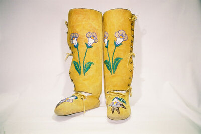 Shoshone Indian Tribe-women's (Squaw) moccasin legging boots.