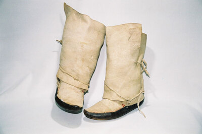 Pueblo Indian Tribe-ladies wrap boots.