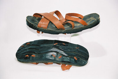 Men's sandals; 'Vietcong' army-soldier footgear.