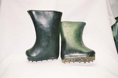 Men's Rainboots for covering black silk mandarin boots.