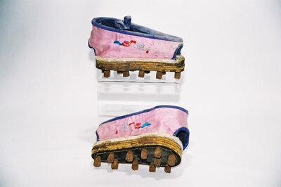 Ladies boundfeet overshoes.