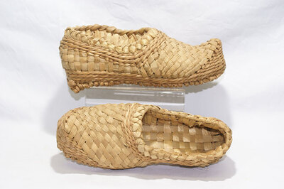 Straw shoes.