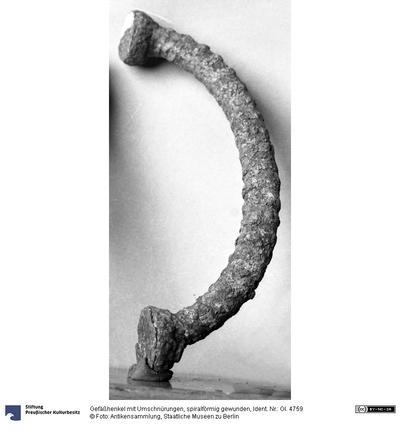 Gefäßhenkel mit Umschnürungen, spiralförmig gewunden