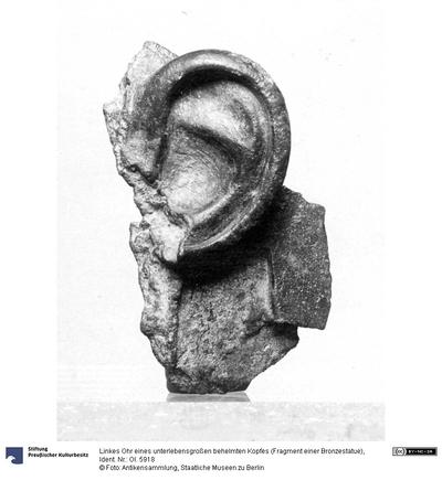 Linkes Ohr eines unterlebensgroßen behelmten Kopfes (Fragment einer Bronzestatue)